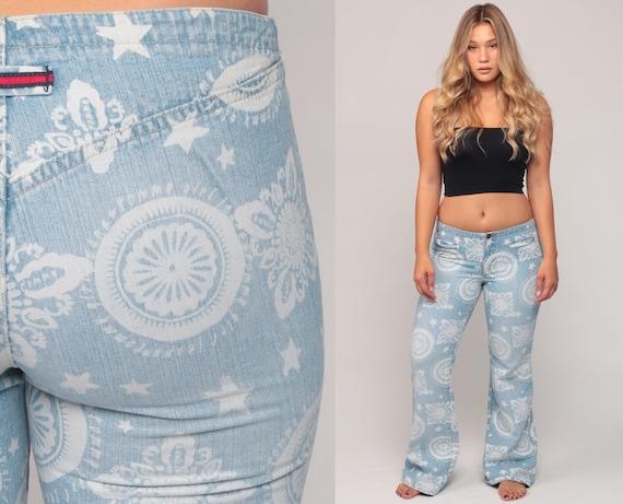 Y2K Bell Bottom Jeans TOMMY Hilfiger Jeans Hippie Pants Low Rise Jeans 90s Denim Geometric Boho Vintage Bohemian Blue Flared Medium 8 10