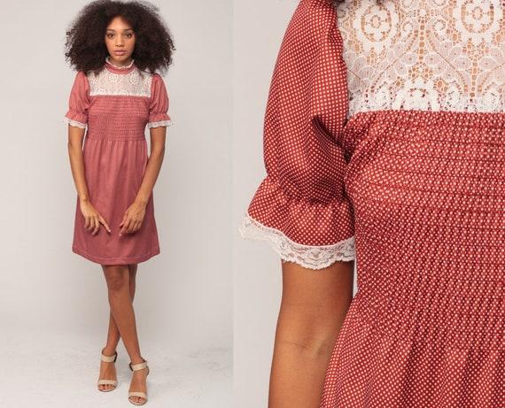 Babydoll Dress 70s Mini BIB Lace Dress 60s Mod Dress Puff Sleeve Rust Polka Dot Boho Dolly Lolita Bohemian Victorian Vintage Small Medium