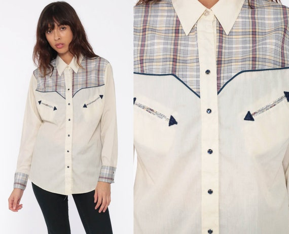 70s Western Shirt Cream Plaid Shirt PEARL SNAP Shirt Button Up Vintage Long Sleeve Rockabilly Blue Medium