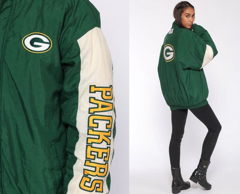 size 40 94ef7 7b8fa GREEN BAY PACKERS Jacket Football Jacket Reebok Nfl Jacket 90s Jacket  Sports Green 90s Streetwear Vintage Retro Extra Large xl l