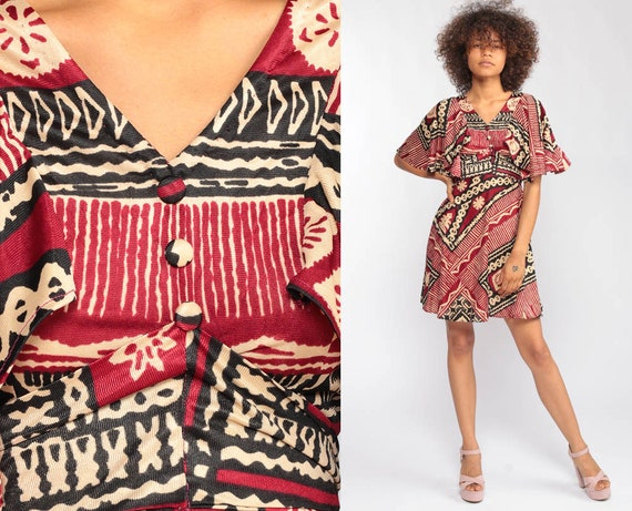 Babydoll Dress Boho 70s Mini TRIBAL Aztec Print Red Hippie Flutter Sleeve 1970s Vintage Empire Waist Bohemian African Dress Extra Small xs