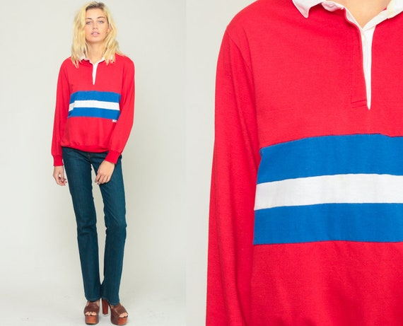Polo Sweatshirt 80s Sweatshirt Striped Sweater Polo Shirt Button Up Red White Blue Retro Slouchy 1980s Sports Vintage Extra Large xl