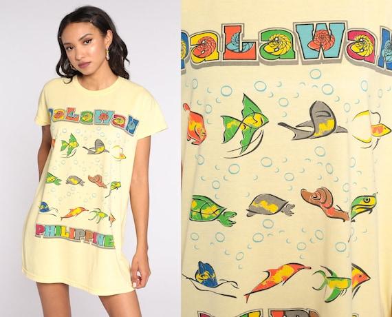 Palawan Philippines Tshirt Dress -- 90s Graphic Tropical Fish Tshirt Dress Beach Cover Up Graphic T Shirt 1990s Yellow Medium Large