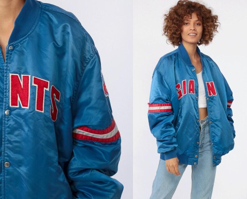 best service 351d4 f0c3c New York GIANTS Jacket Satin Bomber Jacket 1980s STARTER Football Jacket  Nfl Royal Blue Red 1980s Vintage Snap Up Striped Pro Line Large