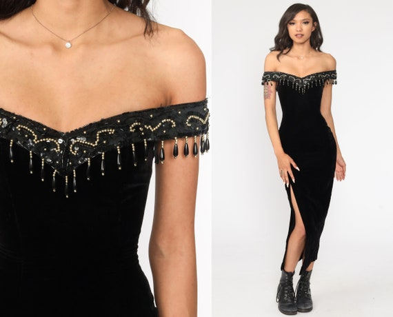 Black Velvet Dress 2xs 90s Party Off Shoulder BODYCON Midi BEADED High Slit Sleeveless 1990s Gothic Vintage Lbd Vamp Tight Extra Small xxs