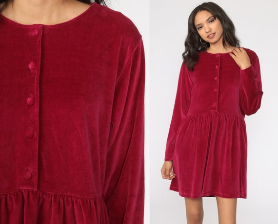 Velour Babydoll Dress 90s Raspberry Red Dress Part