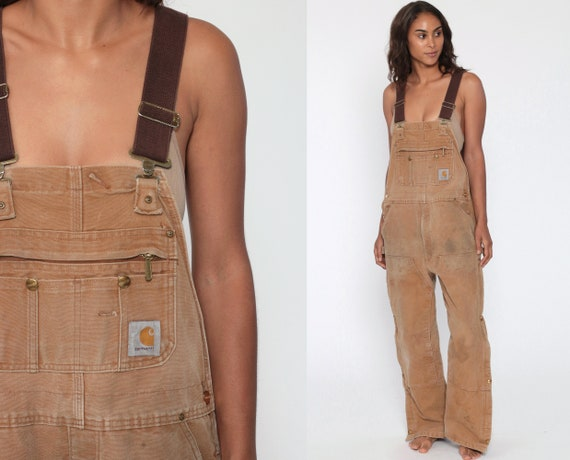 90s CARHARTT Overalls LINED Baggy Pants Streetwear Cargo Dungarees Brown Coveralls Workwear Long Wide Leg Jeans Work Vintage Small xs