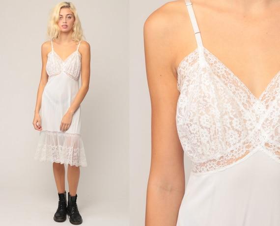 White Slip Dress 70s LACE Sheer Lingerie Nightgown Midi Boho Deep V Neck Vintage 80s Empire Waist Spaghetti Strap Bohemian Medium Large