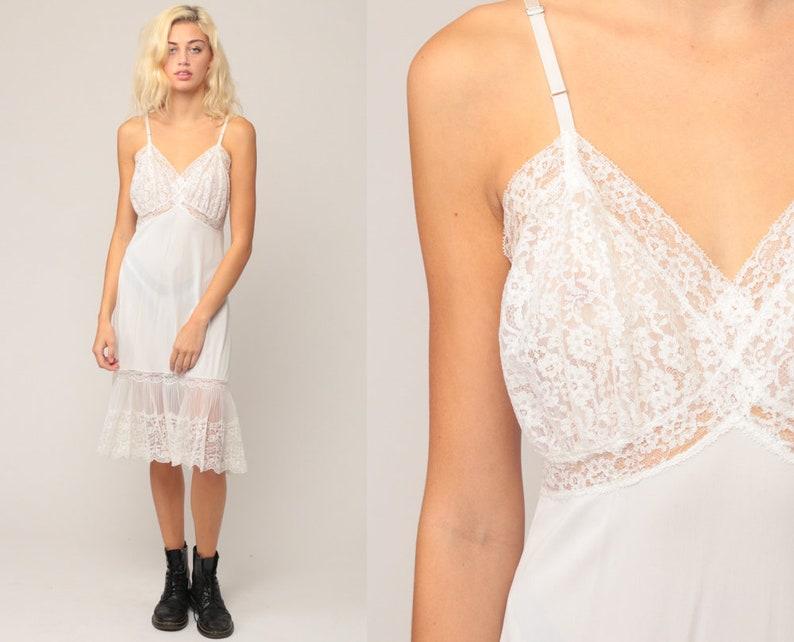 469571942d79 White Slip Dress 70s LACE Sheer Lingerie Nightgown Midi Boho   Etsy