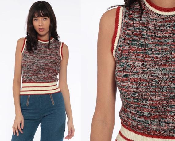 Knit Tank Top 70s Sweater Shirt Space Dye Rust Green Sweater Top Striped Shirt Boho Shirt Retro Vest Bohemian 1970s Vintage Small
