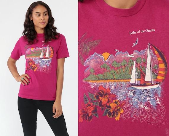 Lake Ozarks Shirt -- 80s Graphic Tee Tshirt Lake Of The Ozarks Tshirt Travel Pink Magenta T Shirt 1980s Tourist Vacation Top Extra Small xs
