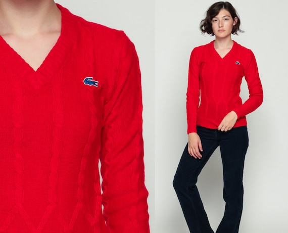 Lacoste Sweater Cable Knit Sweater 80s V Neck Izod Oversized Pullover Red Vintage 1980s Preppy Crocodile Nerd Plain Extra Small xs