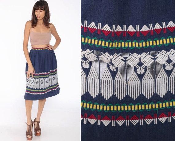 Guatemalan Embroidered Skirt 60s Midi Blue BIRD Aztec Bohemian 70s Embroidery Vintage Boho Hippie Indie High Waist Skirt Extra Small XS xxs