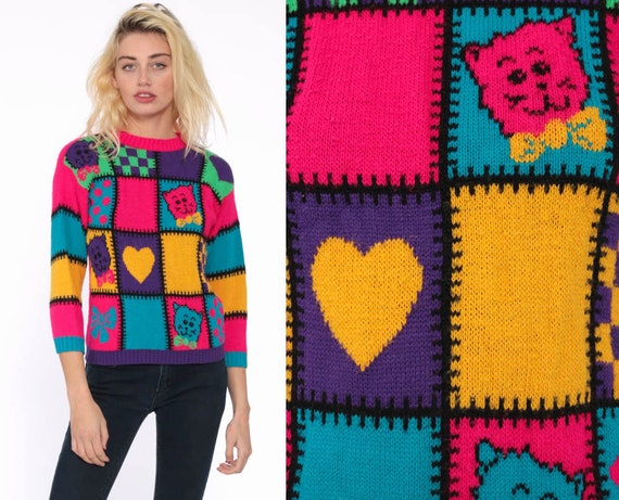 Neon Sweater Bowtie Cat Sweater 90s Statement Color Block Heart Crazy Geometric Print Jumper Hot Pink Vintage Extra Small xs