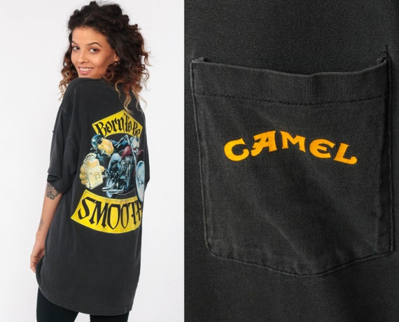 Joe Camel Shirt Born to be SMOOTH Cigarette Shirt MOTORCYCLE Tshirt Biker Shirt 90s Smokers T Shirt Vintage Retro Tee Pocket Extra Large xl