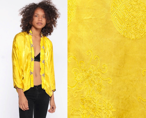 Yellow Chinese Jacket -- Asian Satin Floral Brocade Shirt Pajama Top Yellow Silver Jacket Boho Mandarin Collar Extra Small XXS
