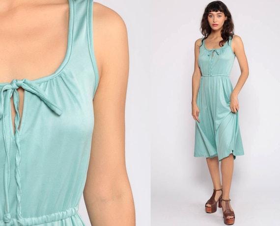 Grecian Dress 70s Midi Boho KEYHOLE Bow Neck High Waist Seafoam Blue Dress 1970s Vintage Bohemian Sleeveless Simple Party Disco Small