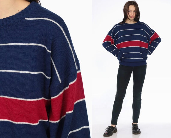 90s Striped Sweater -- 1990s Navy Blue Sweater White Stripes Oversized Acrylic Grunge Slouch Red Jumper Vintage Pullover Unisex Medium Large