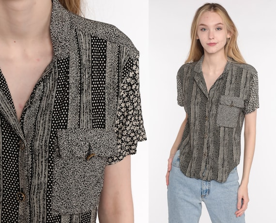 90s Button Up Shirt Black Floral Blouse Striped Short Sleeve Rayon Top Calico Shirt Grunge Boho 1990s Vintage Bohemian Small S