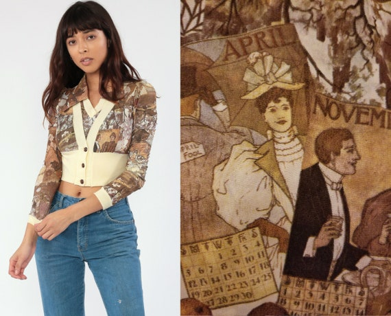 70s Boho Top Antique Calendar Cardigan Hippie Blouse Novelty Print Shirt ATTACHED JACKET Set Vintage Bohemian 1970s Brown Extra Small xs
