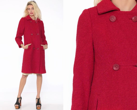 Wool Pea Coat 60s Mod Peacoat Raspberry Red Winter Jacket Sailor Jacket Boho Double Breasted Button Up 1960s Extra Small xs