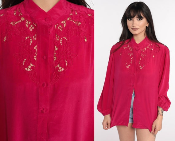 Embroidered SILK Blouse Deep Pink Cutwork Blouse Open Weave Cut Out Top 80s Button Up Long Sleeve 1980s Boho Hippie Bohemian Medium Large