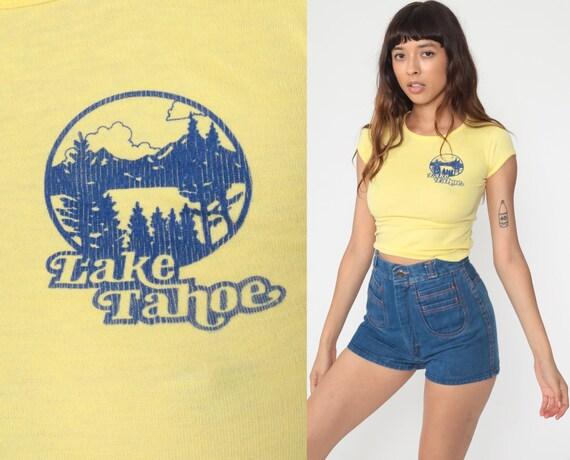 Lake Tahoe Shirt Single Stitch T Shirt Retro TShirt Baby Tee Vintage T Shirt 80s Travel Graphic Print 1980s Yellow Extra Small 2xs