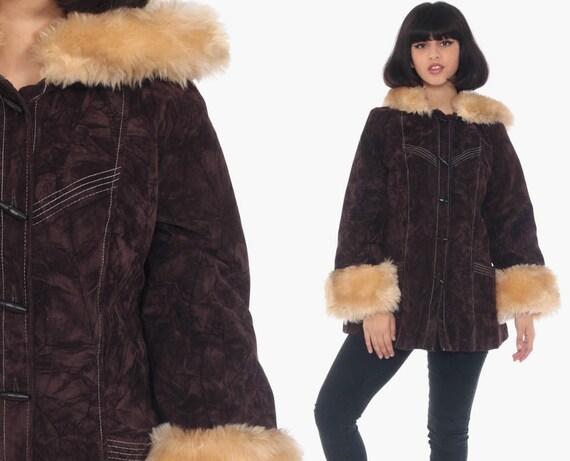 Hooded Velvet Coat Brown FAUX FUR Jacket 70s Bohemian Jacket Fake Suede Hoodie Jacket Boho Hood Vegan Vintage Small