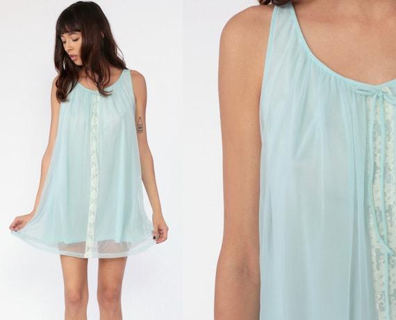 Baby Blue Nightgown Slip Dress 60s Nylon Lingerie Babydoll Mini LACE Nightie Sheer Sleeveless Boho 70s Mini Vintage 1960s Medium