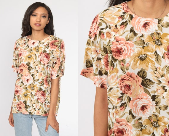 Cropped Rayon Blouse Vintage 90s Short Sleeve Floral Tie Top Women/'s Medium