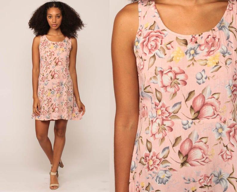 6378d30f43 Floral Mini Dress 90s Sundress Baby Pink Pastel Grunge Summer