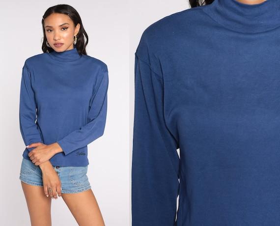 Mock Neck Shirt Blue Shirt 80s Sostanza Top Long Sleeve Shirt 1980s Retro Funnel Neck Top Vintage Simple Plain Shoulder Pad Small Medium