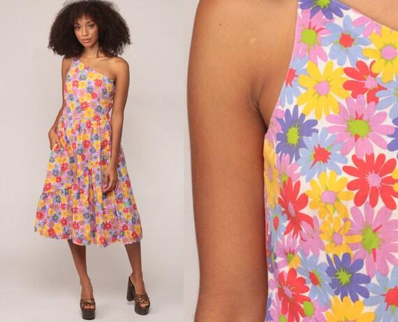 70s Floral Dress LANZ SunDress 1970s ONE SHOULDER Asymmetrical Cotton Sun Hippie Boho Pocket Summer Vintage High Waist Extra Small xs