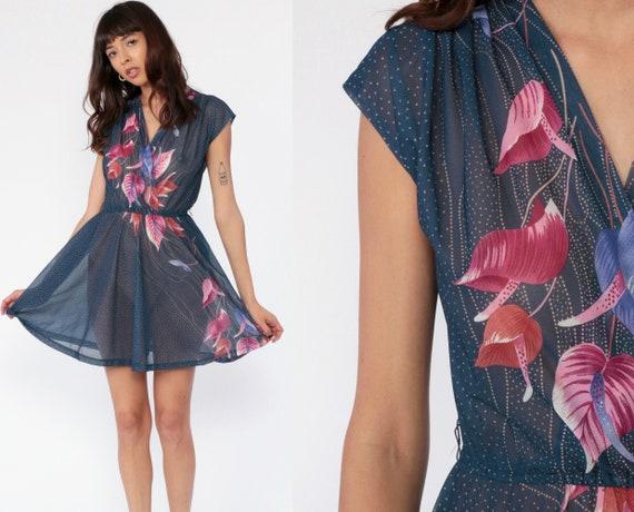 Sheer Floral Dress 70s Boho Blue Wrap Dress Mini High Waisted 1970s V Neck Vintage Summer Dress Bohemian Cap Sleeve Small Medium