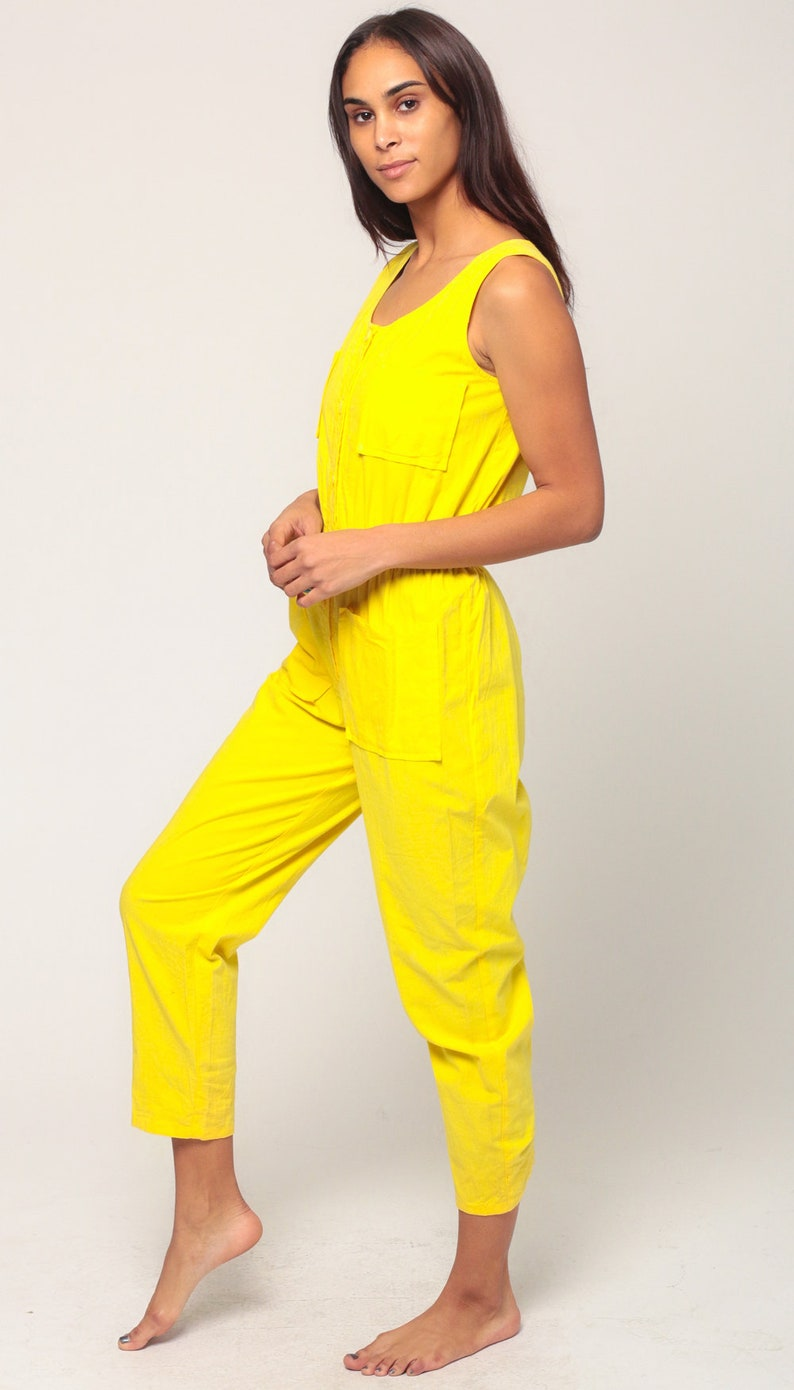 61dc7c1bce8 Summer Jumpsuit 80s Onesie Playsuit Tapered Pant Button Up