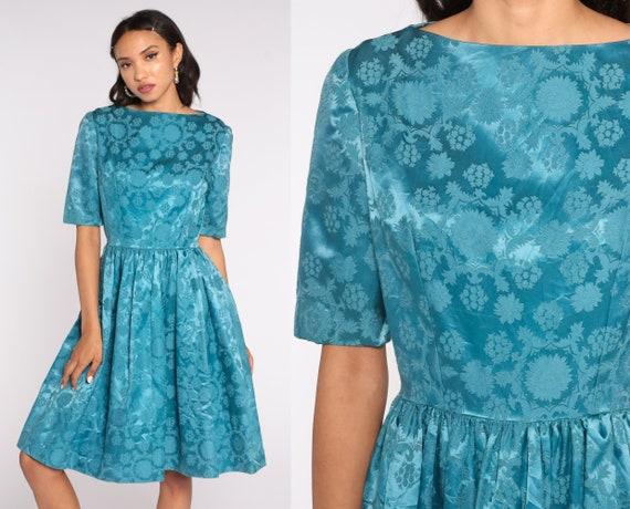Satin Party Dress 1960s Blue Midi Dress Cream 1/2 Sleeve Dress Prom Dress 50s Mad Men 60s High Waisted Formal Dress Small 4