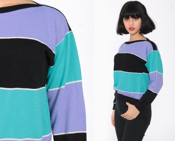 Purple Striped Sweatshirt 80s Sweater Color Block Shirt Boatneck Soft Turquoise Blue Retro Slouchy Pullover Vintage Extra Small xs