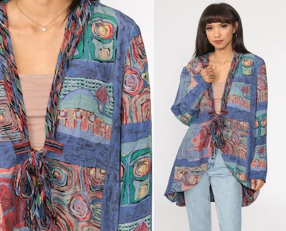 Abstract Kimono Jacket 90s Art Jacket Hippie Boho Tie Front Jacket Long 1990s Bohemian Vintage Sleeve Purple Small Medium Large