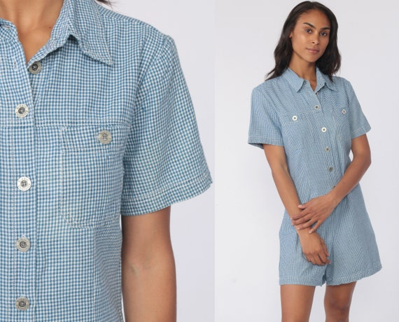 Gingham Romper Shorts 90s Grunge Romper Woman Basic Edition Button Up Vintage Checkered Print Playsuit Blue White 1990s Normcore Small
