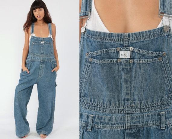 90s Calvin Klein Overalls xl -- Overalls Denim Overalls CK Jean Dungarees Grunge Suspender Long Jean 1990s Streetwear Extra Large xl