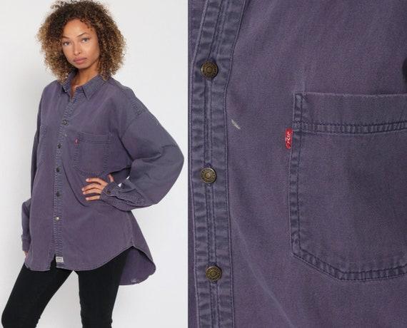 Purple Levis Shirt Denim Button Up Shirt Jean Shirt 90s Grunge Long Sleeve Cotton Oversized Button Down 1990s Streetwear Extra Large xl l