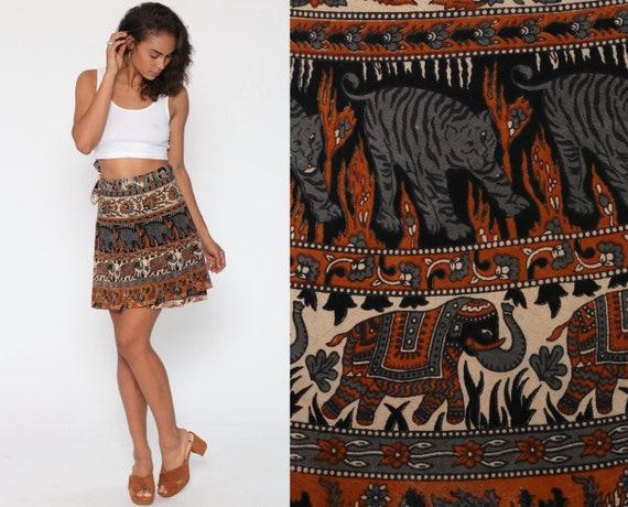 Indian WRAP Skirt Cotton Batik Elephant Tiger Print 90s Mini Grunge Boho 1990s Vintage High Waisted Bohemian Brown Small Medium Large