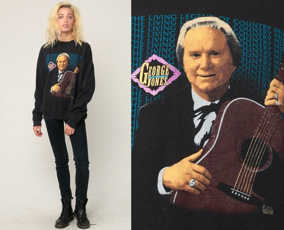 George Jones Shirt Sweatshirt 90s COUNTRY Music Band Shirt Legend Long Sleeve Shirt Vintage 1993 Graphic Retro Black Medium Large