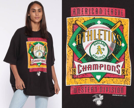 1992 Oakland Athletics Shirt -- 90s Baseball T Shirt Starter CHAMPIONS TShirt Sports Graphic American League Vintage Extra Large xl l