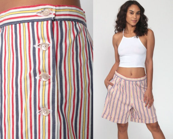 Striped Shorts 80s Rainbow Striped White Shorts Baggy Trousers Summer 1980s Button Up Bottoms Retro Paper Bag 80s Cotton Vintage Medium 30