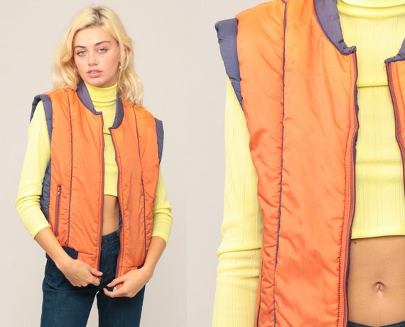 Sleeveless Jacket Ski Vest Puffer Vest 70s Vest Puffy Retro Winter Orange Vest 80s Hipster Vintage 1970s Medium