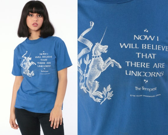 The Tempest Shirt William Shakespeare Shirt UNICORNS Quote Retro TShirt Literary Play Graphic Vintage T Shirt 80s Tee Tshirt Medium
