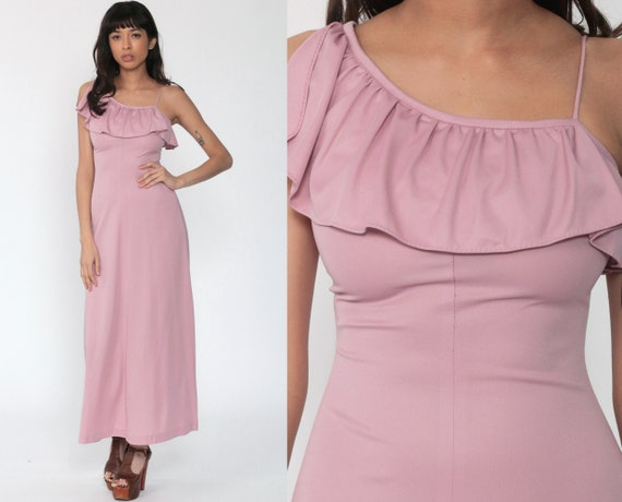 70s Maxi Dress Pink Grecian Dress ONE SHOULDER Party 1970s Disco Boho Asymmetrical Prom Vintage Gown Bohemian  Sleeveless Extra Small xs