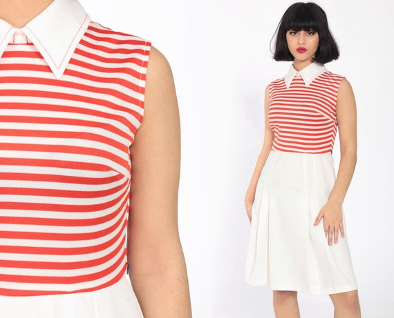 Peter Pan Collar Dress 70s Striped Mini Dress Mod PLEATED Orange High Waisted 60s Twiggy Vintage Retro Sleeveless White Retro Extra Small xs