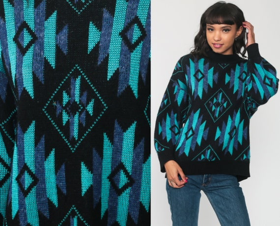 Southwestern Sweater Black Turquoise Tribal Sweater Boho Sweater 80s Aztec Southwest Slouchy Bohemian Vintage Jumper Knit Medium Large